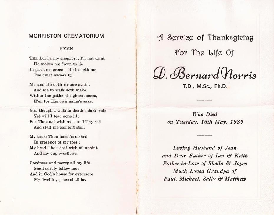 In Memoriam D Bernard Norris 2