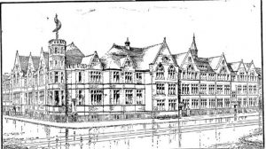 Sandy Morgan's drawing of the School building in the 1930s, as shown on the Centenary booklet
