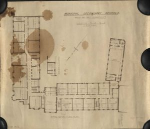 The plans for the ground and first floor of the 1928 reconstruction and new building